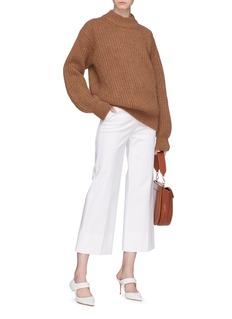 Victoria Beckham Elbow patch intarsia chunky rib knit sweater