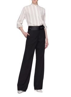 Victoria Beckham Stripe silk grandad shirt