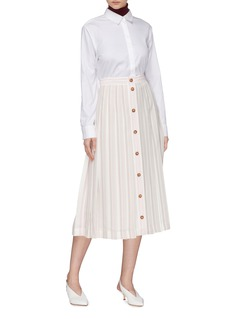 Victoria Beckham Button front stripe pleated silk midi skirt