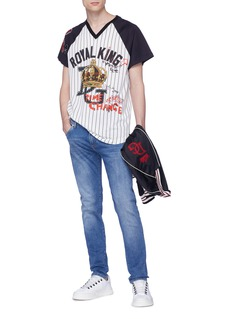 Dolce & Gabbana 'Royal King' graphic print stripe baseball T-shirt