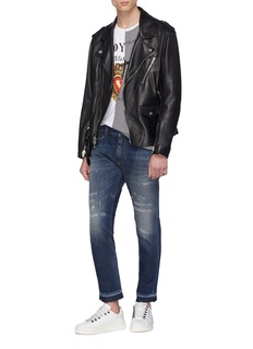 Dolce & Gabbana Let-out cuff distressed capri jeans