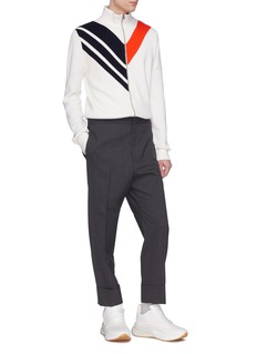 Stella McCartney Colourblock chevron stripe knit high neck jacket