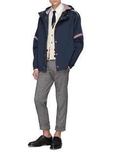 Thom Browne Stripe sleeve hooded twill jacket