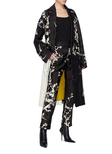 Haider Ackermann 'Leonotis' contrast panel floral jacquard coat