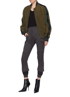 Haider Ackermann Leaf embroidered stripe sleeve quilted bomber jacket