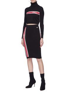 GCDS Logo stripe knit skirt