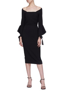 Roland Mouret 'Hitchcock' tie flared cuff off-shoulder dress