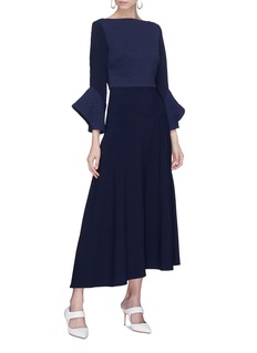 Roland Mouret 'Hemmings' flared cuff textured panel dress