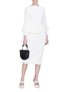 Roland Mouret 'Richardson' flared cuff textured panel peplum top