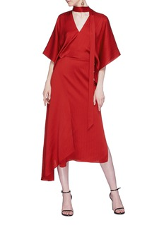 Roland Mouret 'Meyers' neck tie drape silk satin dress