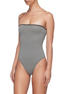Marysia 'Adelaide' reversible stripe one-piece strapless swimsuit
