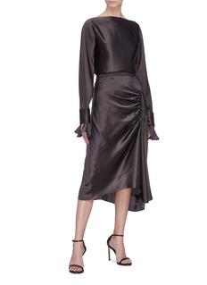 Christopher Esber 'Ilona' detachable split cutout sleeve silk satin blouse