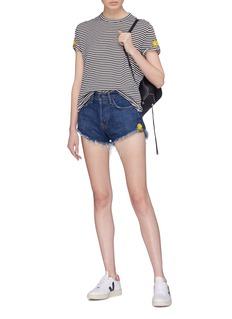 Sandrine Rose 'The Two Hundred' smiley embroidered stripe T-shirt