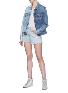 Tortoise Denim 'Steppe' faux pearl colourblock ripped denim jacket