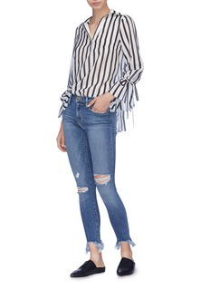 Frame Denim 'Le Skinny de Jeanne' shredded cuff jeans