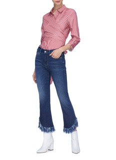 Frame Denim 'Le Crop Mini Boot' shredded cuff flared jeans