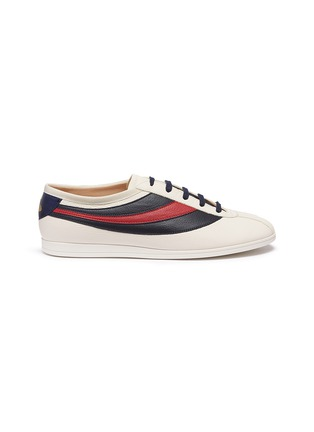 Main View - Click To Enlarge - GUCCI - 'Falacer' Web stripe leather sneakers