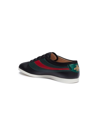 Detail View - Click To Enlarge - GUCCI - 'Falacer' Web stripe leather sneakers