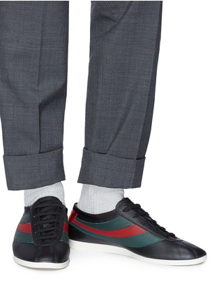 Figure View - Click To Enlarge - GUCCI - 'Falacer' Web stripe leather sneakers