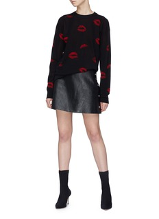 Sonia Rykiel Snap button outseam lambskin leather skirt