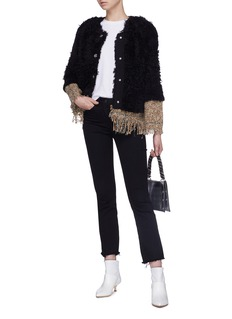 Sonia Rykiel Fringe hem tweed faux fur jacket