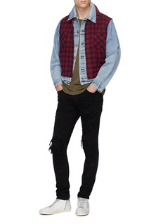 R13 Tartan plaid flannel panel denim jacket