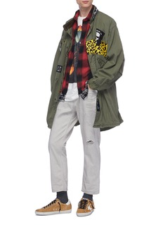 R13 Frayed hem colourblock patchwork check plaid flannel shirt