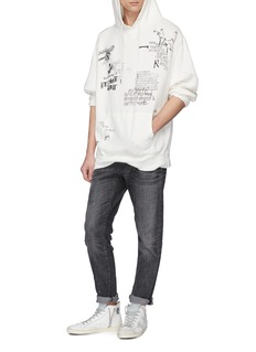 R13 'Doodle' mix print oversized hoodie
