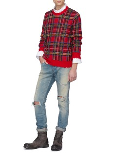 R13 Distressed tartan plaid cashmere sweater