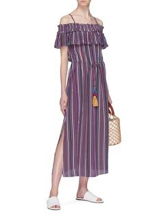 Figue 'Mirella' stripe silk crepe off-shoulder dress
