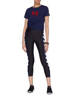 P.E Nation 'Lay Up' knot hem logo print cropped T-shirt
