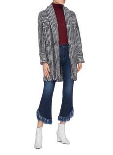 Matilde Chevron stripe jacquard open coat