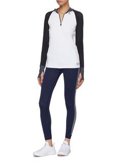 Monreal London 'Endurance' colourblock perforated raglan sleeve performance half-zip hoodie