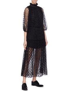 Cecilie Bahnsen 'Aia' spot velvet flock print silk tulle dress