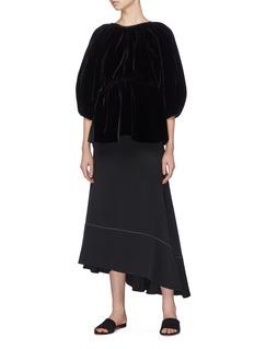 Cecilie Bahnsen 'Amo' tie back puff sleeve velvet peplum top