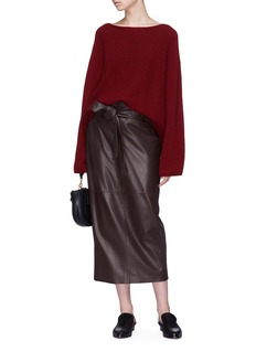 The Row 'Arun' belted leather skirt