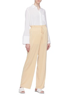 The Row 'JR' straight leg silk paperbag pants