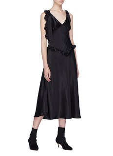 Maggie Marilyn 'You're the One' ruffle tie shoulder silk dress