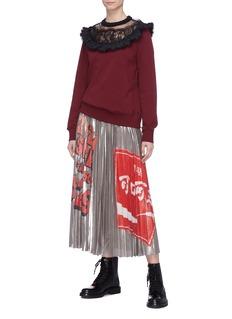 Marc Jacobs Slogan print pleated metallic skirt