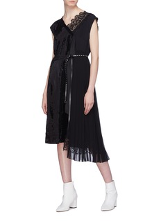 Marc Jacobs Belted pleated chiffon panel sequin wrap dress