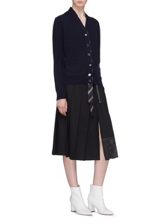 Marc Jacobs Satin panel pleated wool skirt