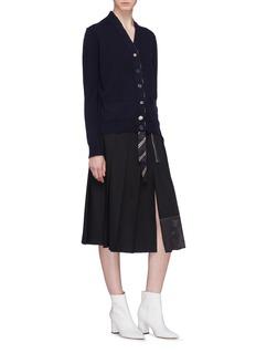 Marc Jacobs Stripe silk lapel wool cardigan