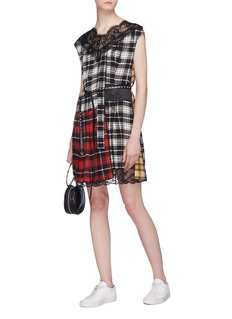 Marc Jacobs Lace trim colourblock tartan plaid silk dress