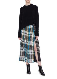 Marc Jacobs Colourblock tartan plaid pleated silk skirt