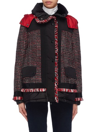 Main View - Click To Enlarge - Moncler - Tweed panel hooded down puffer jacket