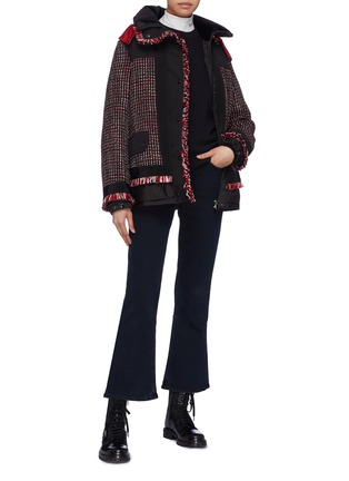 Figure View - Click To Enlarge - Moncler - Tweed panel hooded down puffer jacket