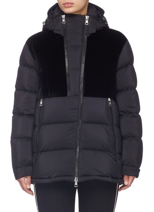 Main View - Click To Enlarge - MONCLER - 'Blongios' velvet panel hooded down puffer jacket
