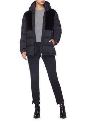 Figure View - Click To Enlarge - MONCLER - 'Blongios' velvet panel hooded down puffer jacket