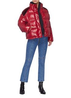 Moncler 'Chouette' velvet shoulder panel down puffer jacket