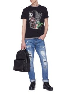 Alexander McQueen Floral print panel ripped jeans